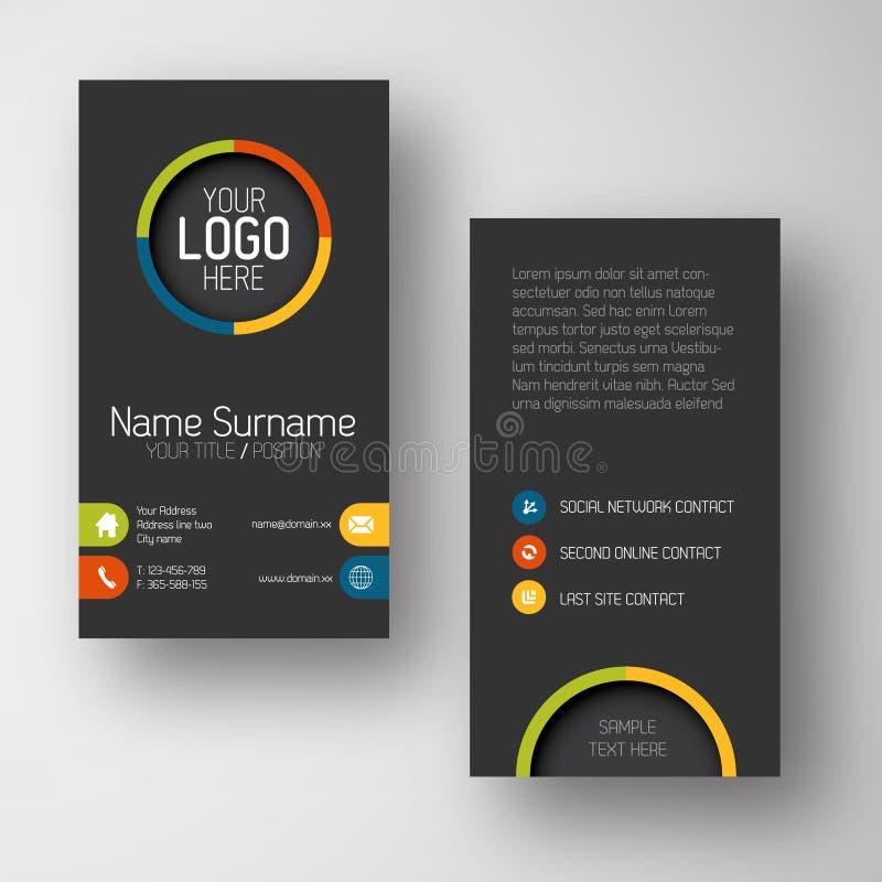 Plantilla vertical oscura moderna de la tarjeta de visita con la interfaz de usuario plana stock de ilustración