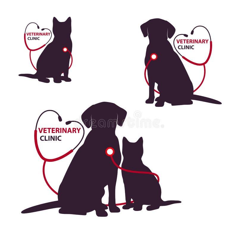 Plantilla veterinaria del logotipo de la clínica con el gato y el perro Ilustración del vector stock de ilustración