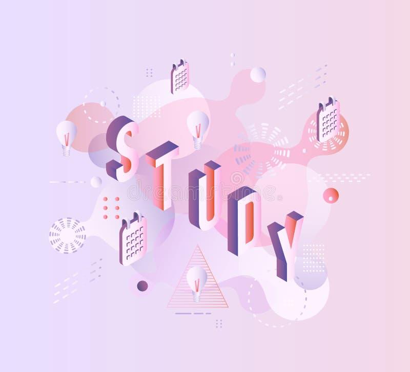 Plantilla vibrante del cartel de la pendiente del estudio del vector ilustración del vector
