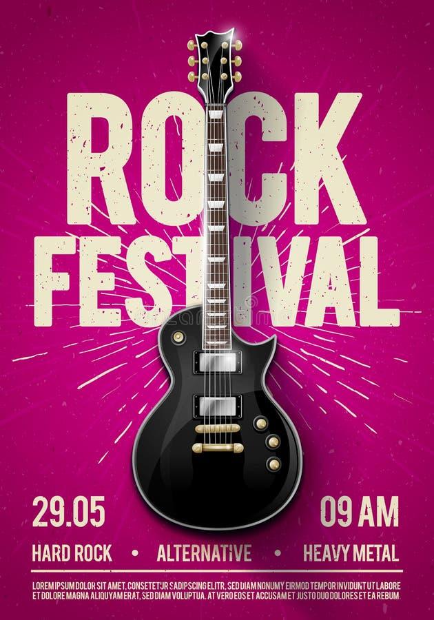 Plantilla violeta del diseño del aviador del partido del concierto del festival de la roca del ejemplo del vector o del cartel de stock de ilustración