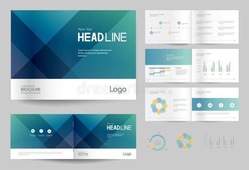 Plantilla y diseño de página del diseño del folleto del negocio para el perfil de compañía, informe anual, ilustración del vector