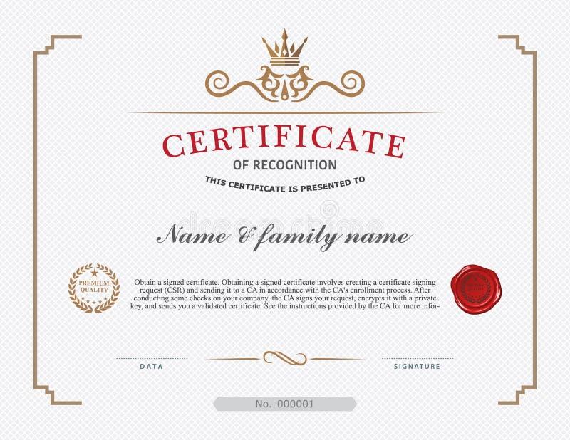 Plantilla y elemento del certificado ilustración del vector