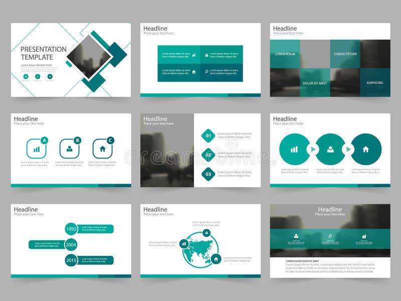 Plantillas abstractas cuadradas verdes de la presentación, plantilla de los elementos de Infographic stock de ilustración