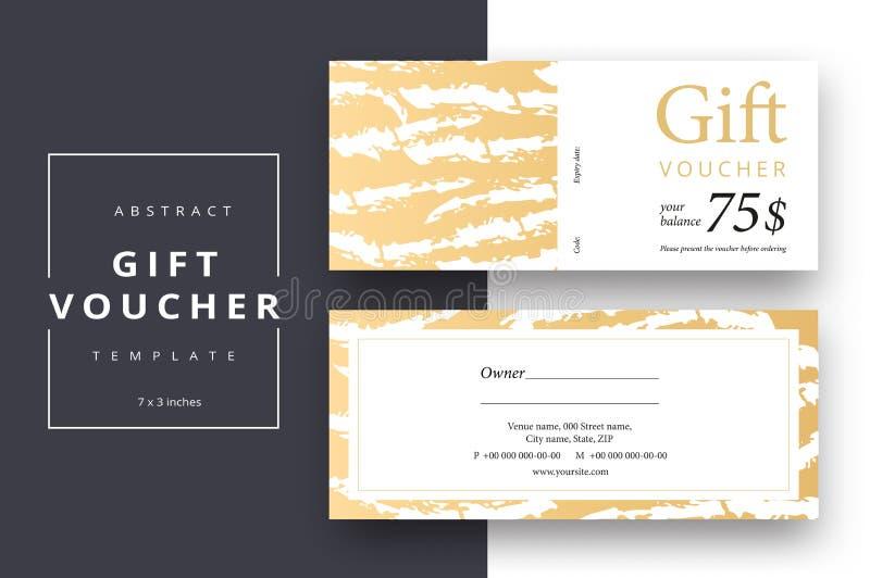 Plantillas abstractas de moda de la tarjeta del vale de regalo Cou moderno del descuento stock de ilustración