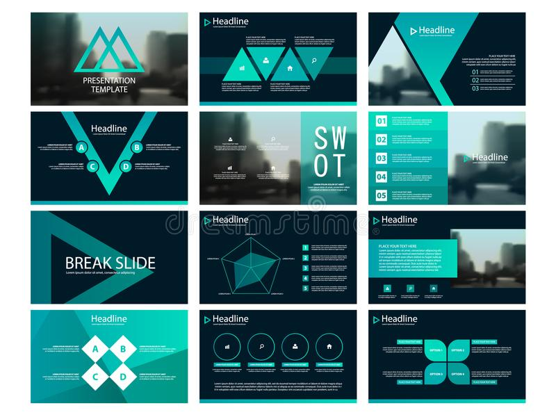 Plantillas abstractas verdes de la presentación del triángulo stock de ilustración