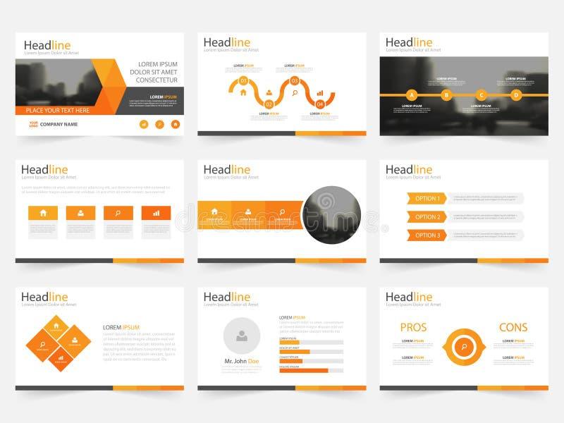 Plantillas anaranjadas de la presentación del triángulo, tem de los elementos de Infographic libre illustration