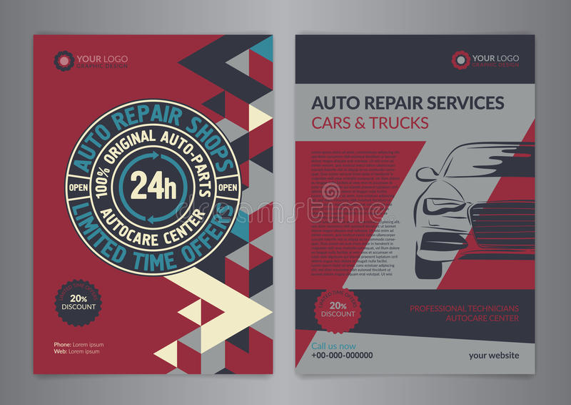 Plantillas automotrices determinadas de la disposición del negocio de los centros de servicio Plantillas autos del folleto del ta ilustración del vector