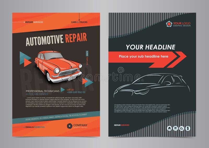 Plantillas autos de la disposición del aviador del negocio de servicios, portada de revista de la reparación de automóviles, foll stock de ilustración