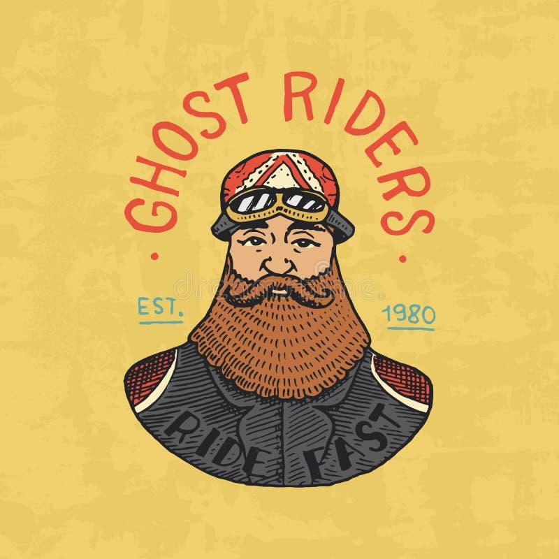 Plantillas barbudas del motorista Club de las motocicletas Emblema de encargo del vintage, insignia de la etiqueta para la camise stock de ilustración