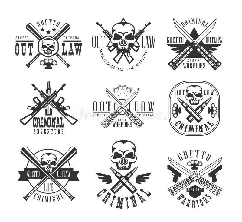 Plantillas blancos y negros proscritas calle del diseño de la muestra del club criminal con las siluetas del texto y del arma libre illustration