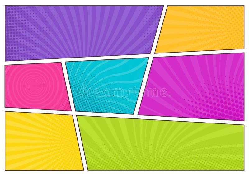 Plantillas coloreadas brillantes en blanco del fondo, contextos decorativos con textura punteada o cajas con los puntos y rayos p libre illustration