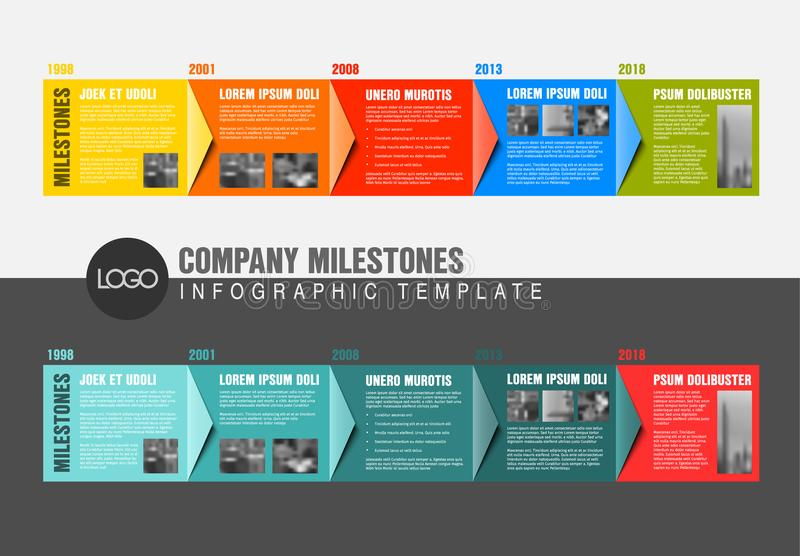 Plantillas coloridas del informe de la cronología de Infographic del vector ilustración del vector
