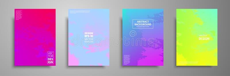 Plantillas coloridas fijadas con texturas Aplicable para los folletos, aviadores, banderas, cubiertas, cuadernos, tarjetas de vis stock de ilustración
