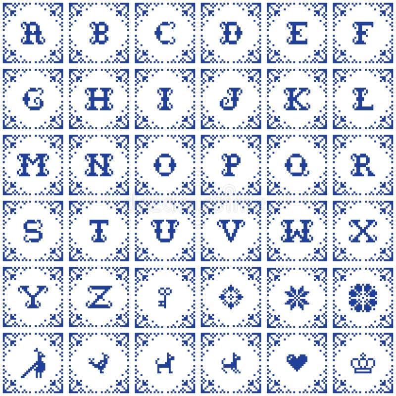 Plantillas cruzadas retras del vector del diseño del monograma del vector de la puntada, alfabeto elegante del vintage, letras de stock de ilustración
