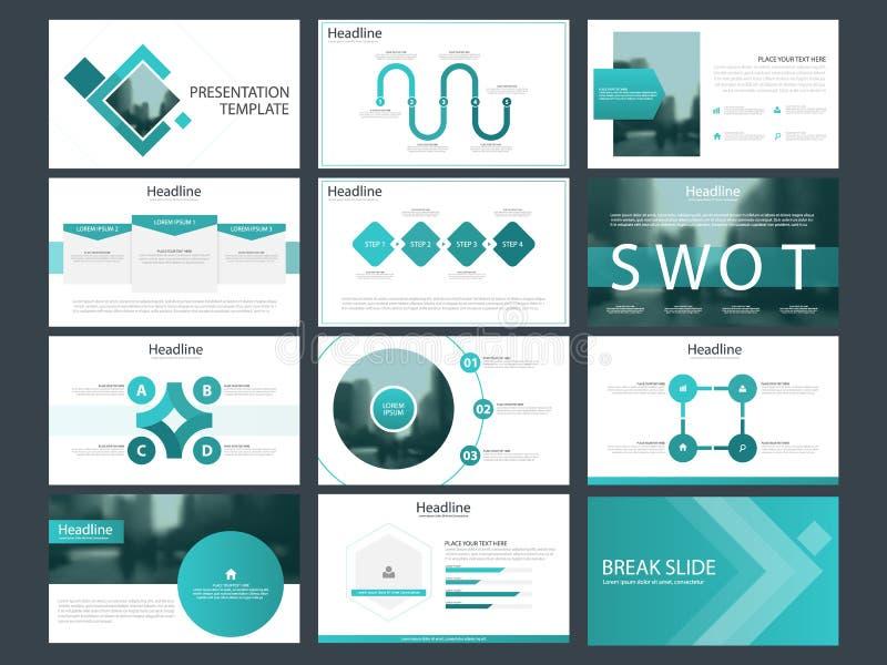 Plantillas cuadradas azules de la presentación, plantilla de los elementos de Infographic ilustración del vector