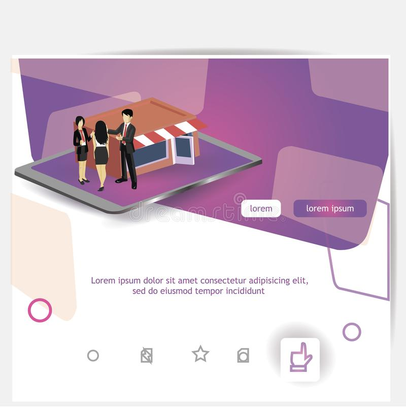 Plantillas de aterrizaje de la página para las compras en línea, márketing digital, trabajo en equipo, estrategia empresarial Con stock de ilustración