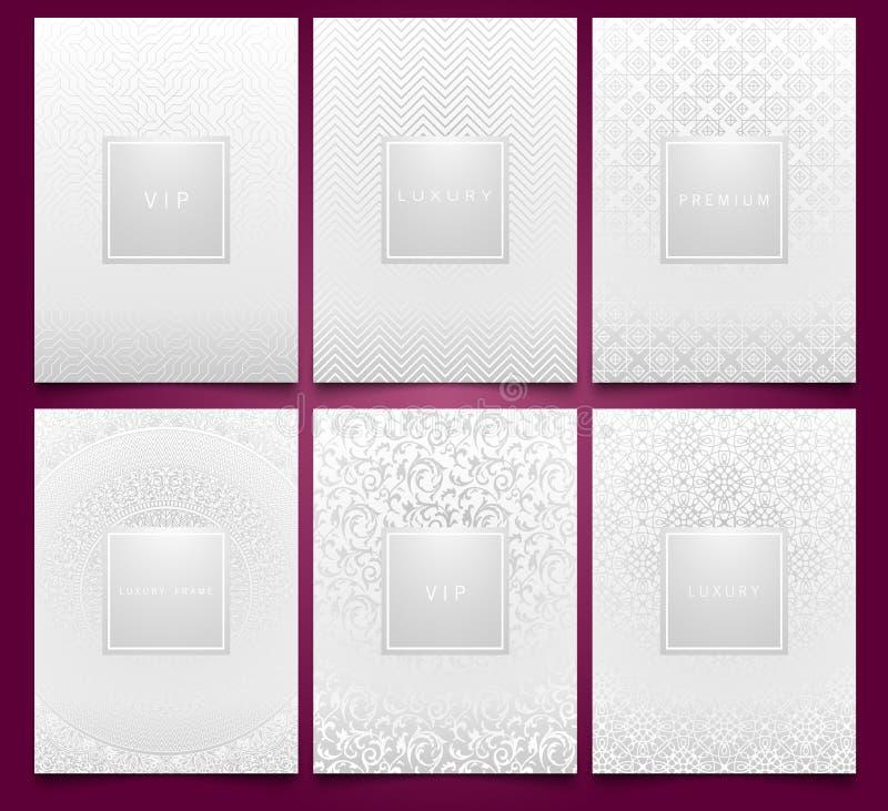 Plantillas de empaquetado blancas determinadas del vector con la textura geométrica y floral linear de plata del modelo del damas stock de ilustración