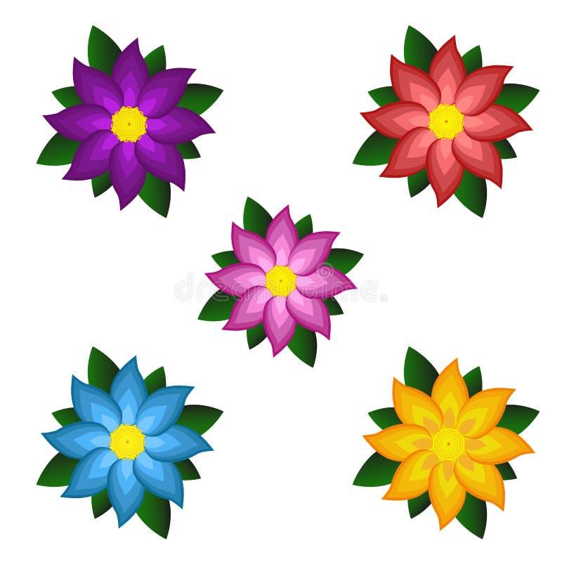 Plantillas de flores estilizadas coloreadas brillantes libre illustration