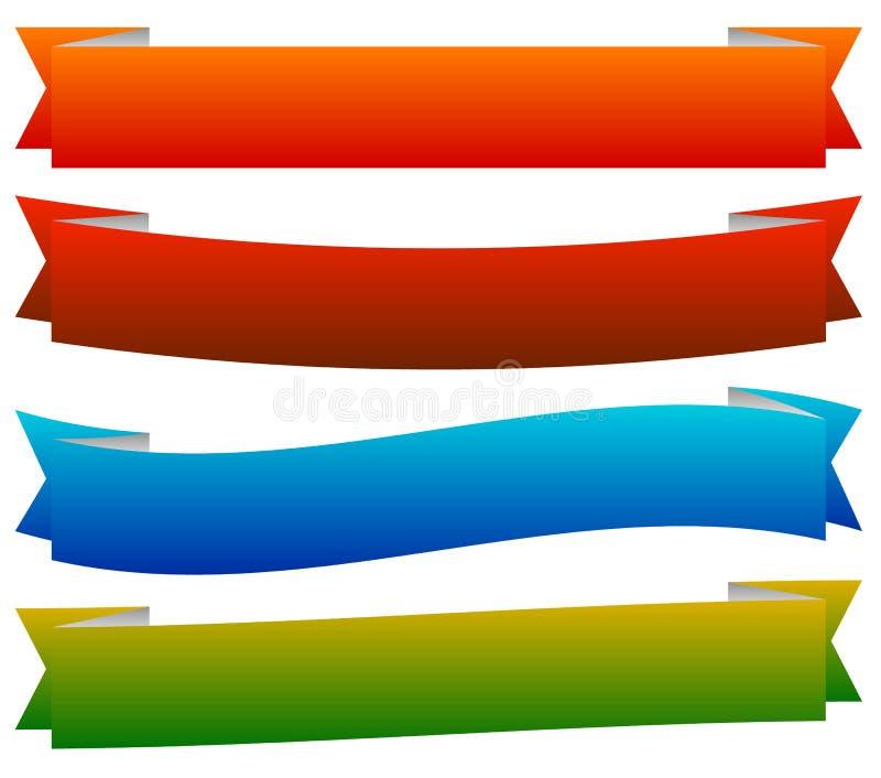 Plantillas de la bandera/de la cinta en estilo dinámico 6 colores stock de ilustración