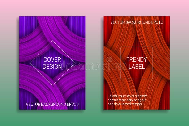 Plantillas de la cubierta con textura volumétrica Fondos de moda del folleto o de la etiqueta en sombras púrpuras y anaranjadas stock de ilustración