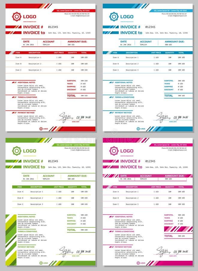 Plantillas de la factura del vector fijadas stock de ilustración