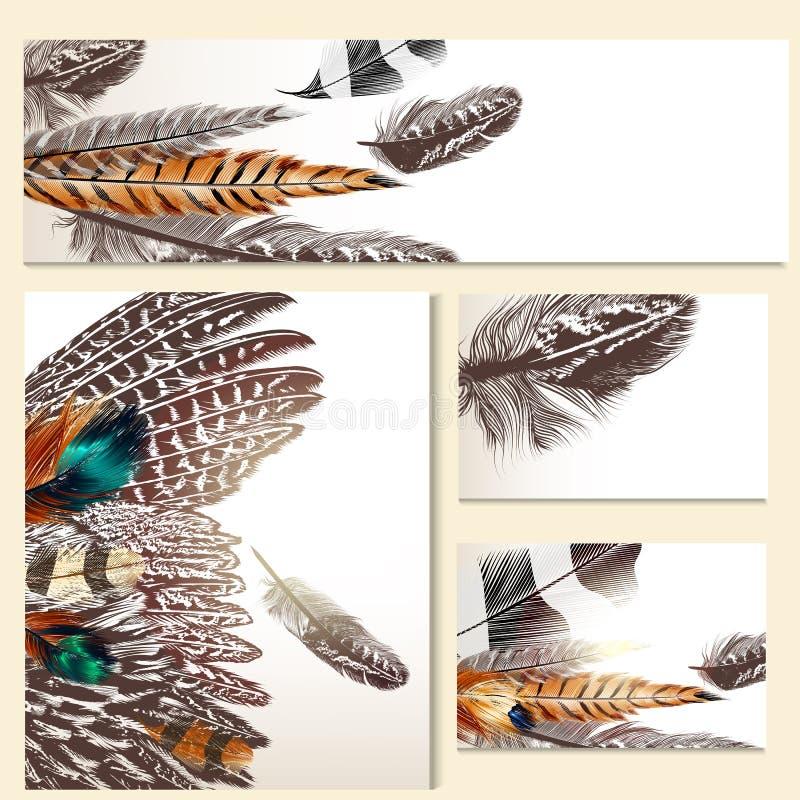 Plantillas de la identidad corporativa con las plumas coloridas ilustración del vector