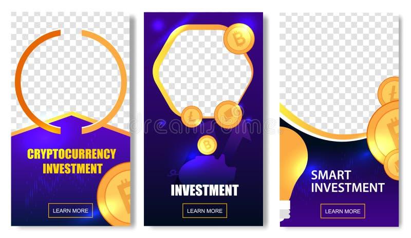 Plantillas de la inversión de Cryptocurrency con las monedas libre illustration