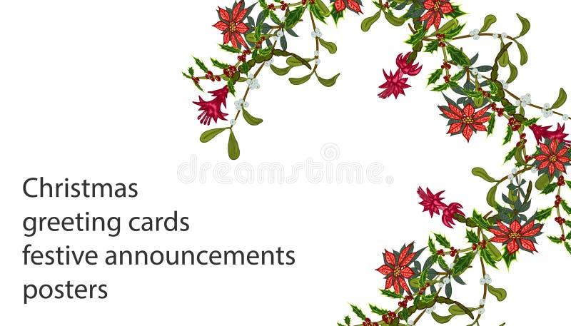 Plantillas de la Navidad con las flores para su diseño, tarjetas de felicitación, avisos festivos stock de ilustración