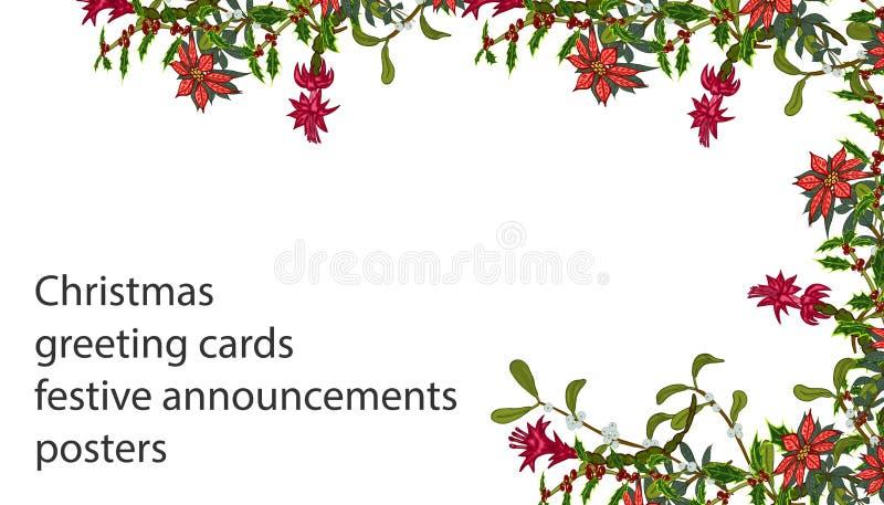 Plantillas de la Navidad con las flores para su diseño, tarjetas de felicitación, avisos festivos ilustración del vector
