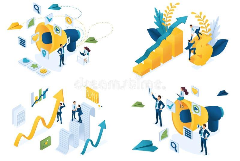 Plantillas de la página web del diseño de sistema del márketing digital Conceptos modernos del ejemplo para el desarrollo del sit ilustración del vector