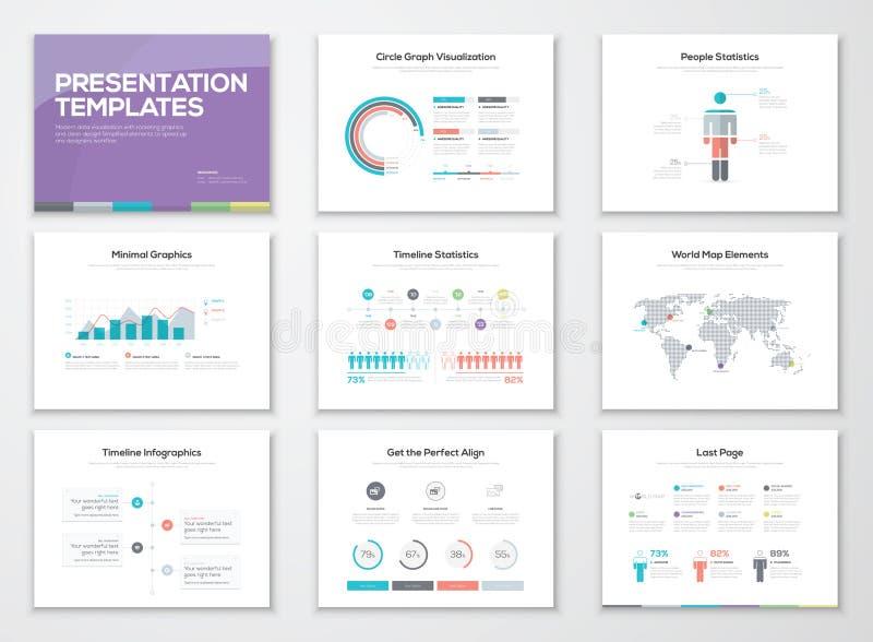 Plantillas de la presentación de Infographic y folletos del negocio stock de ilustración