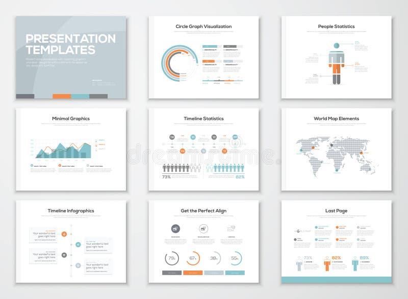 Plantillas de la presentación de Infographics y folletos del negocio stock de ilustración