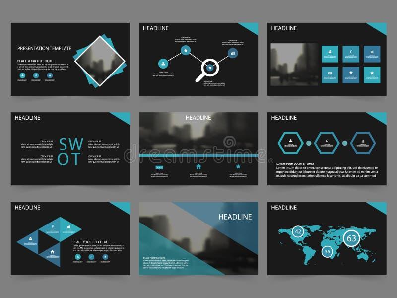 Plantillas de la presentación del extracto del negro azul, plantilla de los elementos de Infographic libre illustration