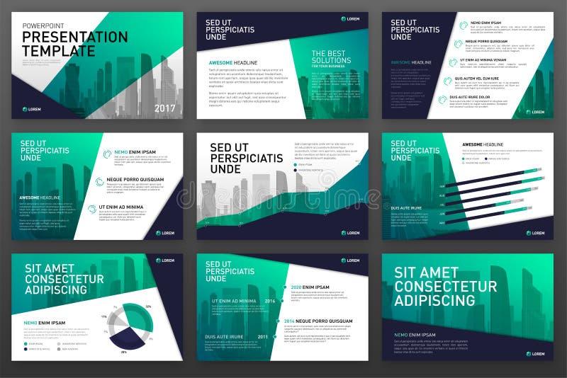 Plantillas de la presentación del negocio con los elementos infographic stock de ilustración