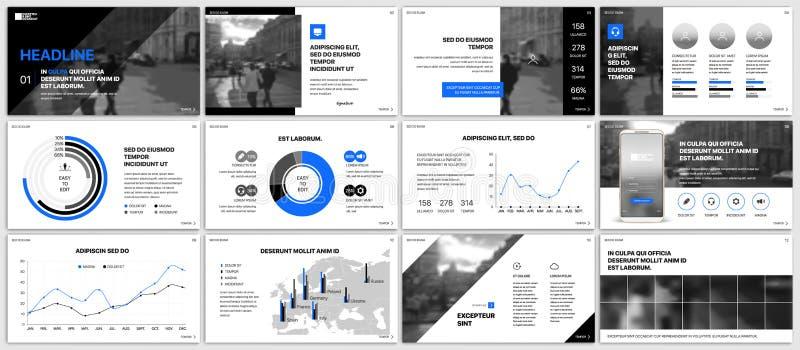 Plantillas de la presentación Elementos azules para el infographics en un fondo blanco libre illustration