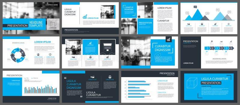 Plantillas de la presentación y fondo azules de los elementos del infographics stock de ilustración