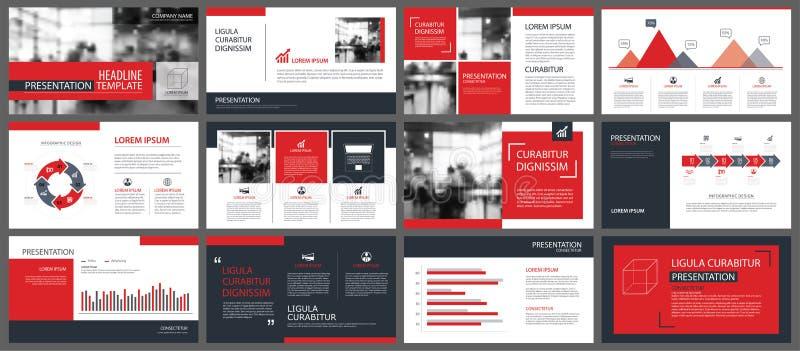 Plantillas de la presentación y fondo rojos de los elementos del infographics libre illustration