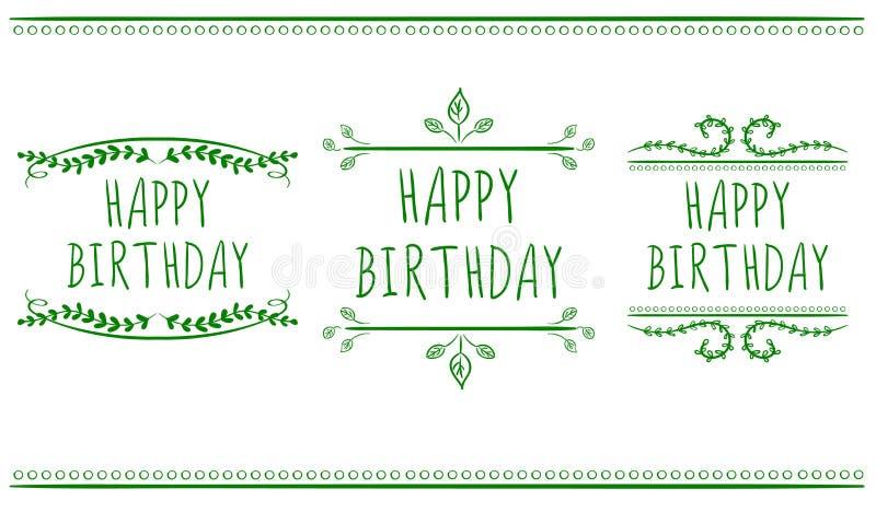Plantillas de la tarjeta del feliz cumpleaños Vector las escrituras de la etiqueta Verde en blanco ilustración del vector