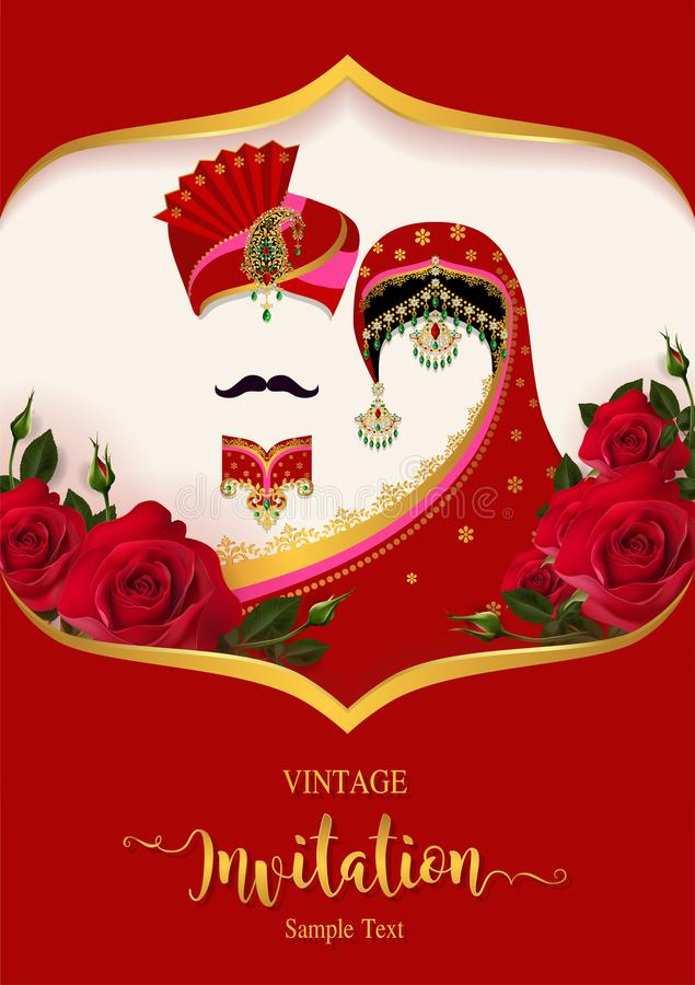 Plantillas de la tarjeta de la invitación de la boda stock de ilustración