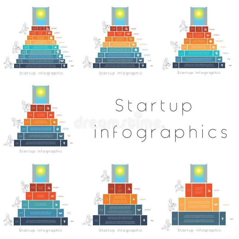 Plantillas de lanzamiento del infographics para 3,4,5,6,7,8,9 posiciones stock de ilustración