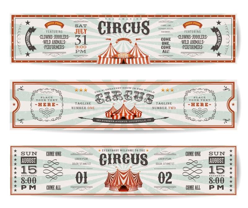 Plantillas de las banderas del sitio web del circo del vintage stock de ilustración