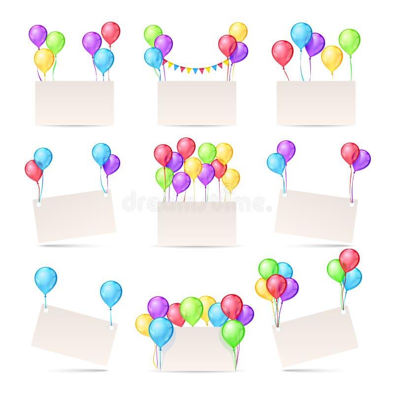 Plantillas de las tarjetas de felicitación con los globos del color y las banderas en blanco stock de ilustración