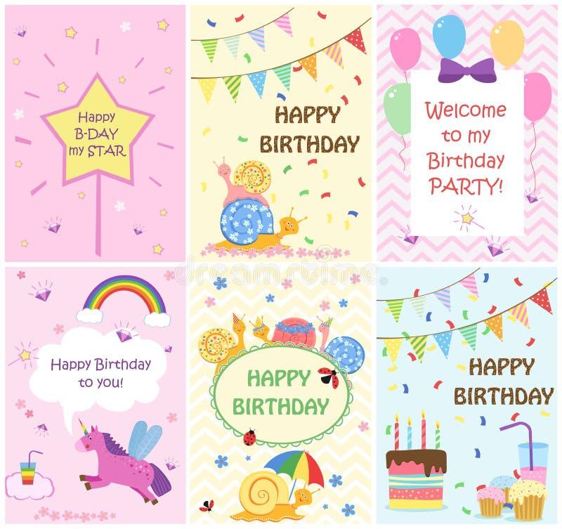 Plantillas de las tarjetas de felicitación del feliz cumpleaños e invitaciones del partido para los niños, sistema de postales ilustración del vector