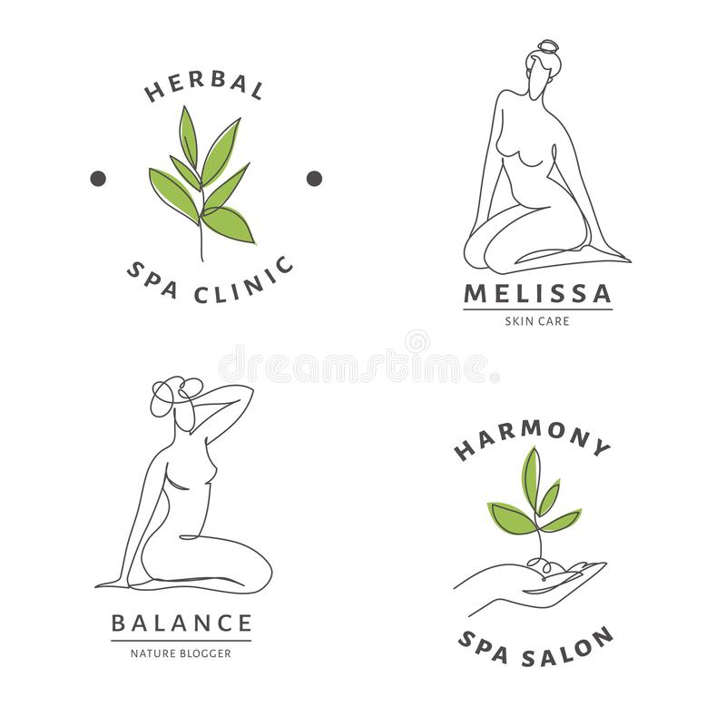 Plantillas de logotipo del salón de belleza con cuerpo femenino y arte de línea natural stock de ilustración