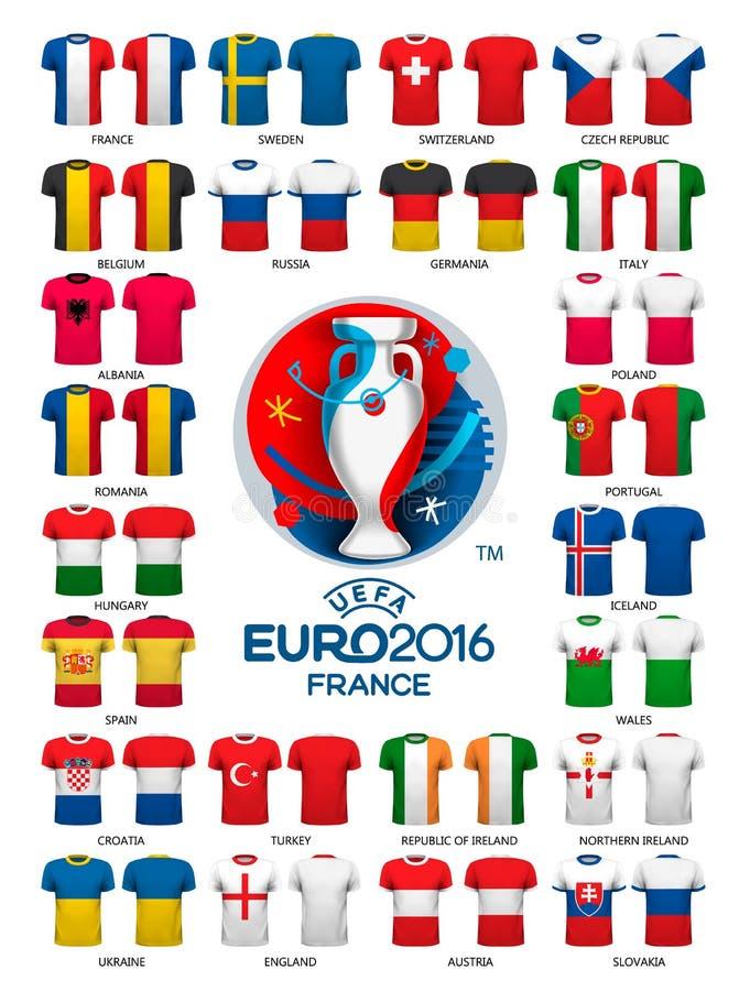 Plantillas 2016 de los jerséis del fútbol del euro stock de ilustración