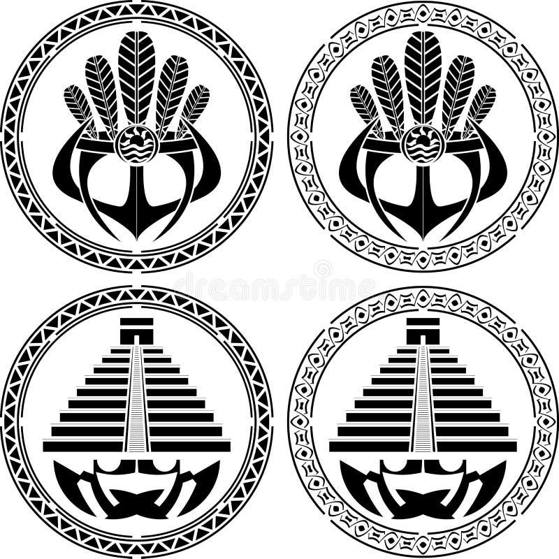 Plantillas de máscaras y de pirámides americanas indias nativas ilustración del vector
