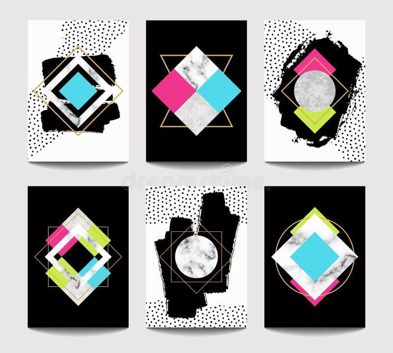 Plantillas de moda del folleto del vector con geometría plana stock de ilustración