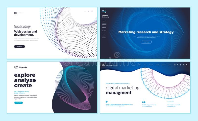 Plantillas del diseño de la página web con el fondo abstracto para el estudio de mercados y estrategia, diseño web y desarrollo,  stock de ilustración