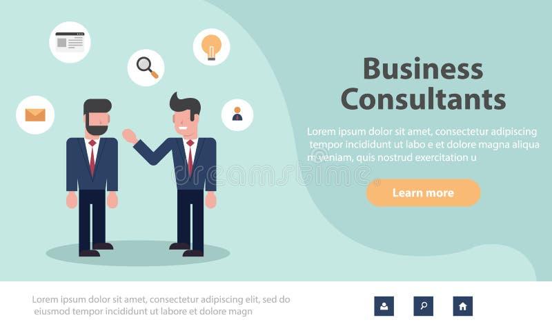 Plantillas del diseño de la página web para las soluciones del negocio, el inicio, la gestión de tiempo, el planeamiento y la est libre illustration