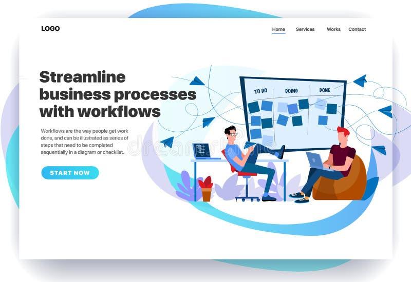 Plantillas del diseño de la página web para los procesos de negocio aerodinámicos con flujos de trabajo stock de ilustración